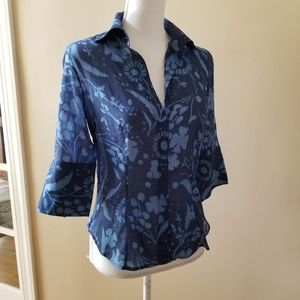 W by Worth Blue Fitted Shirt in Floral Print